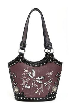 The Rustic Shop - Black and Brown Dragonfly Western Embroidered and Embossed Handbag Purse, $44.99 www.martimsimplyrustic.com