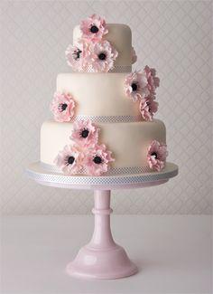 Beautiful Cake Pictures: Beautiful Anemone Wedding Cake - Cakes with Ribbons, Flower Cake, Wedding Cakes, White Cakes - Uk Wedding Cakes, Wedding Cake Roses, Wedding Sweets, Wedding Cake Decorations, Beautiful Wedding Cakes, Gorgeous Cakes, Pretty Cakes, Dream Wedding, Beautiful Cake Pictures