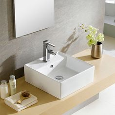 Somette Fine Fixtures Modern White Vitreous China Square Vessel Sink - Overstock Shopping - Great Deals on Somette Bathroom Sinks