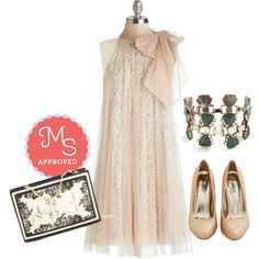 In this outfit: Time and Grace Dress, Bows for Photos Bracelet, Chapter by Chapter Clutch, Sparkle and Interest Heel #lace #cream #bows #gold #specialoccasion