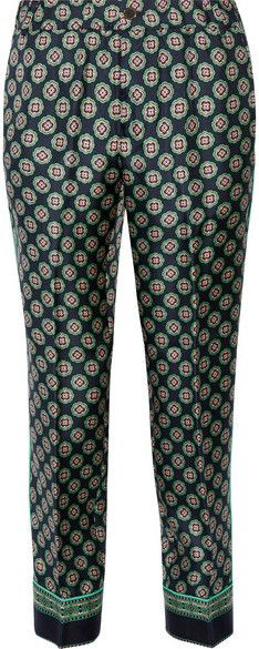 J.Crew - Quilina Cropped Printed Silk-twill Straight-leg Pants - Navy