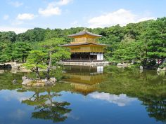 """Kinkaku-ji (金閣寺, """"Temple of the Golden Pavilion""""), Zen Buddhist temple in Kyoto. THe temple was burned down by a novice monk, Hayashi Yoken in which was fictionalized by Mishima in his 1956 book The Temple of the Golden Pavilion. Buddhist Temple, Temple Of The Golden Pavilion, Ginkakuji, Nijo Castle, Kobe Japan, Sea Of Japan, Japanese Art, Traditional Japanese, Temples"""
