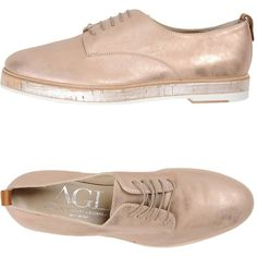 Agl Attilio Giusti Leombruni Lace-up Shoe (245 CAD) ❤ liked on Polyvore featuring shoes, light pink, attilio giusti leombruni, round cap, animal shoes, laced shoes and round toe shoes