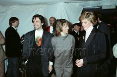 Musician Jean Michel Jarre and his wife Charlotte seen here meeting Princess Diana at the Royal Victoria Docks, Docklands, London before the Destination Docklands Concert July 9th 1988
