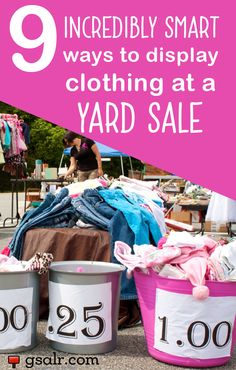 Sale tips.Not sure how to display clothing at a yard sale? No worries, we've got several ideas for you. Figuring out the best way to display yard sale items can be a bit of a struggle for most yard sale hosts,… Garage Sale Signs, Yard Sale Signs, For Sale Sign, Garage Sale Pricing, Garage Sale Organization, Organizing, Organization Ideas, Clothing Organization, Diy Yard Decor
