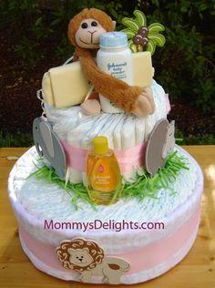 Safari Diaper Cake. Safari Diaper Cakes