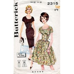 1960s Shirred Bodice Dress Pattern with Full or by BessieAndMaive, $26.00