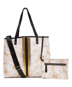 Love this White & Gold Pearl-Print Keona Tote on #zulily! #zulilyfinds