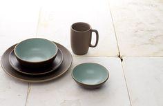 Light blue/brown ceramic set