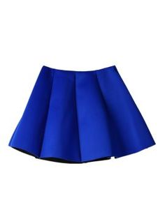 Shop Blue Pleated Skirt Mini Skater Skirt from choies.com .Free shipping Worldwide.$9.9