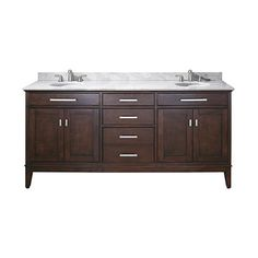 Madison Light Espresso 72 Inch Double Sink Vanity With Carrera White Marble  Top