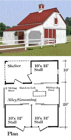 The Chestnut Three-Stall Barn has stalls. A roof provides a shelt. - The Chestnut Three-Stall Barn has stalls. A roof provides a sheltered outdoor a - Small Barn Plans, Farm Plans, Goat Barn, Farm Barn, Pole Barn Construction, Small Horse Barns, Plan Chalet, Barn Layout, Horse Barn Designs
