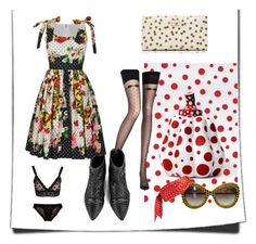 Valentina + Yayoi Kusama by terresekopp on Polyvore featuring Chantal Thomass, Hanky Panky, Kate Spade, Marc by Marc Jacobs, Louis Vuitton, women's clothing, women's fashion, women, female and woman