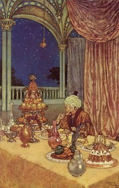 It seemed to Beauty's father that some kindly power had prepared this palace of wonder for him. Edmund Dulac illustration to Beauty and the Beast fairy tale Arthur Rackham, Edmund Dulac, Kay Nielsen, Hans Christian, Toulouse, Art Nouveau, Art Database, Arabian Nights, Children's Book Illustration