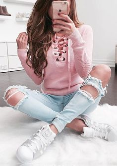 #summer #outfits Pink Lace-up Knit + Bleached Destroyed Skinny Jeans + White Sneakers // Shop this outfit in the link