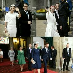 Crown Princess Victoria and Prince Daniel of Sweden, Crown Princess Mette-Marit and Crown Prince Haakon of Norway, Crown Princess Mary and Crown Prince Frederik of Denmark with Princess Marie and Prince Joachim of Denmark at the Town Hall for Queen Margrethe's 75th birthday.