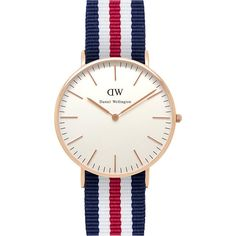 DANIEL WELLINGTON 0502DW Classic Canterbury ladies watch ($155) ❤ liked on Polyvore featuring jewelry, watches, leather-strap watches, white faced watches, stainless steel watches, daniel wellington watches and daniel wellington