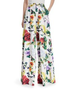 TWT3C Alice + Olivia Dustin Super Flared Floral-Print Cotton Pants
