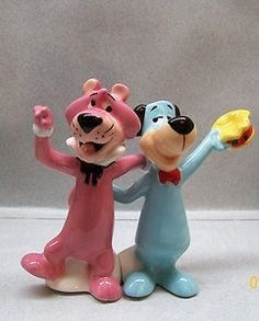 Cartoon Characters Snaglepuss & Huckleberry Hound S & P Shakers.