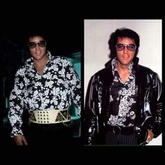 Picture on the left is PHOTOSHOP - FAKE - Elvis' head on an impersonator, Elvis never wore that belt and that shirt isn't even correct!!  - The picture on the right....REAL ELVIS......oh yeah baby!!... - TCB⚡with TLC⚡