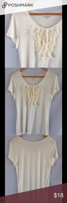 StudioWorks Ivory White Ruffle Tee Cute Ivory tee with ruffle detail. Excellent condition! Size reads small , can fit medium. Studio Works Tops Tees - Short Sleeve