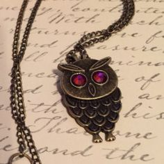 Owl Pendant Necklace with Swarovski Crystals, Owl Necklace by VintageRusticRenewal on Etsy https://www.etsy.com/listing/254062756/owl-pendant-necklace-with-swarovski