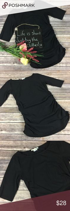 """Boden black ruched 3/4 sleeve top Boden black ruched 3/4 sleeve top. Excellent condition!! Size 4. 15"""" arm pit to arm pit. 25"""" length. Boden Tops"""
