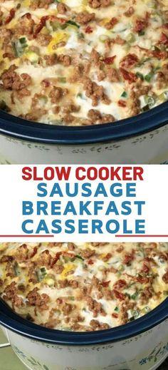 SLOW COOKER SAUSAGE BREAKFAST CASSEROLE #crockpotbreakfastcasserole