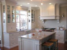Ben moore edgecomb gray + white dove cabinet color.