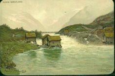 Kunstnerkort Ludvig Ramstad Sogn og Fjordane fylke Stryn kommune Nordfjord Olden tidlig 1900-tall Utg J.F.