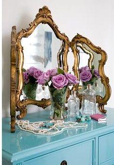 vanity mirror on top of aqua dresser ♥Manhattan Girl Aqua Dresser, Narrow Dresser, Chintz Fabric, Feminine Bedroom, Closet Vanity, Dressing Room Closet, Fandoms, Shabby Chic Cottage, My Room