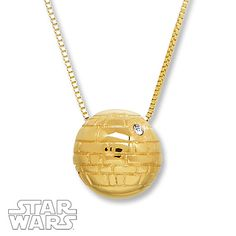 This stylish necklace for her features the Death Star, crafted of 10K yellow gold with a crystal accent. The pendant is suspended from a 19-inch box chain, secured with a lobster clasp. © & ™ Lucasfilm Ltd.
