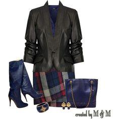 Black jacket, plaid skirt