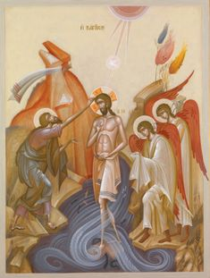 George Kordis (Greek, Baptism of Christ. Egg tempera on wood, 75 × 55 cm. Religious Images, Religious Icons, Religious Art, Byzantine Icons, Byzantine Art, Baptism Of Christ, Church Icon, Paint Icon, John The Baptist
