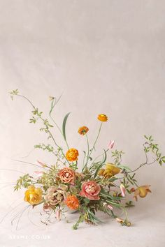 Bowl arrangement of orange, coffee and coral tulips and ranunculus, lime green foliage Deco Floral, Floral Style, Modern Floral Design, Flower Studio, Flower Art, Cactus Flower, Flower Power, Wild Flower Arrangements, Ikebana