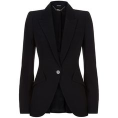 Alexander McQueen Tailored Crepe Blazer found on Polyvore featuring outerwear, jackets, blazers, alexander mcqueen, black fitted jacket, crepe blazer, alexander mcqueen jacket and fitted jacket