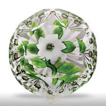 Antique Baccarat faceted white double clematis with bud and millefiori garland   TheGlassGallery  Pinned from PinTo for iPad 