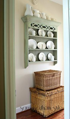 Vintage French Soul ~ Savvy Southern Style: Ironstone and Wicker {last new paint color reveal} Plate Shelves, Plate Racks, Wall Shelves, Shelving, Display Shelves, Shelf, Country Decor, Farmhouse Decor, New Paint Colors