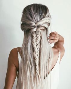 Straight half up half down bun silver hairstyle
