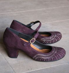 Chie Mihara grape suede mary-janes (lower heel)