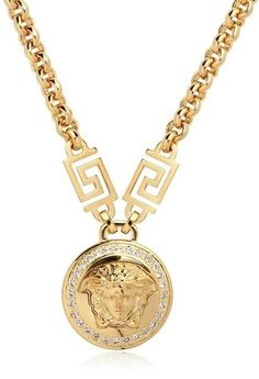 Chunky gold lion queen necklace lions queens and gold versace jewelry for men versace medusa crystals gold plated necklace in gold lyst aloadofball