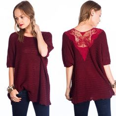 """Love Potion"" Red Wine Lace Knitted Sweater Top Red wine colored knitted sweater top with lace/crochet accents on the back. Brand new without tags. True to size. ABSOLUTELY NO TRADES. Bare Anthology Sweaters"