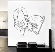 Wall Vinyl Music Headphones Turntable DJ Guaranteed Quality Decal Unique Gift (z3561)