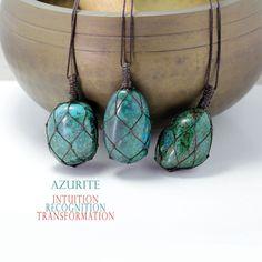 Azurite pendant necklace, Handmade natural tumbled light blue stone Stone Necklace, Beaded Necklace, Pendant Necklace, Tumbled Stones, Natural Shapes, Stone Pendants, Necklace Lengths, Turquoise Necklace, Light Blue