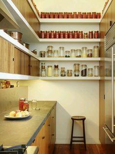 Tiny kitchen with vertical storage at amazing small kitchen design ideas and minimalist Kitchen Pantry Design, Kitchen Storage, Kitchen Ideas, Kitchen Decor, Kitchen Designs, Storage Jars, Diy Kitchen, Kitchen Shelves, Spice Storage