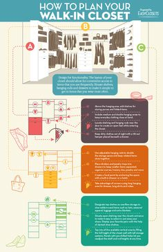 Need help planning your walk-in closet design? Use this handy guide! Need help planning your walk-in closet design? Use this handy guide! Closet Redo, Walk In Closet Design, Closet Remodel, Master Bedroom Closet, Closet Designs, Closet Space, Closet Storage, Master Closet Layout, Diy Walk In Closet