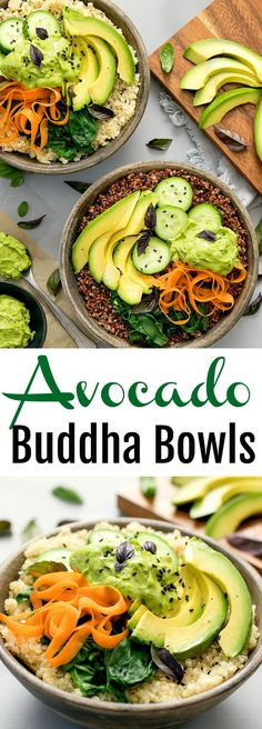 Avocado Buddha Bowls. A nourishing bowl of whole grains and vegetables, topped with creamy avocado dressing.