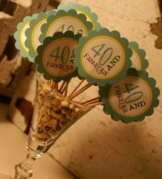 40th Birthday Decorations Toothpicks Held Up By Black Eyed Peas On A Vase Great