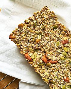 Healthy Seed and Nut Bread (gluten free + vegan) - Baked Ambrosia Healthy Homemade Bread, Healthy Bread Recipes, Healthy Baking, Healthy Snacks, Banting Recipes, Vegan Gluten Free, Gluten Free Recipes, Raw Pumpkin Seeds, Seed Bread