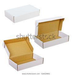 White Paper Boxes On White Background: stock fotografie (k okamžité úpravě) 518529901 Container, Box, Photography, Image, Decor, Decorating, Fotografie, Photography Business, Photo Shoot